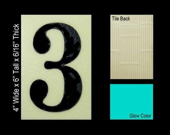 "No 3 Ceramic Tile House Number (4""w x 6""h)"