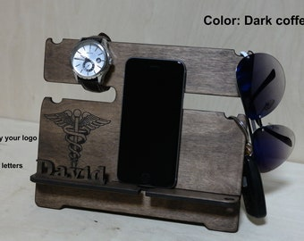 Personalized Mens Docking station, charging station, Phone stand, Watch stand nightstand night stand gift for men phone holder birthday gift