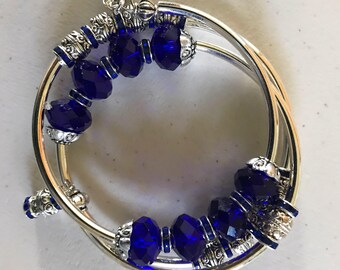 Royal Blue faceted rondelle beaded memory wire bracelet