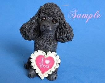 Black French Poodle dog DOG I Love (heart) You Sculpture Clay art by Sallys Bits of Clay