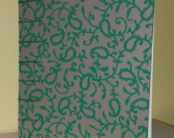 Green Paisley Tan Journal/Sketchbook with Coptic Binding