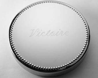 Custom Engraved Personalized Silver Round Jewelry Box with Beaded Trim - Hand Engraved