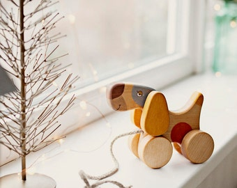 Wooden Pull Along Toy, Wooden Toy For Toddler, Pull Toy Dog
