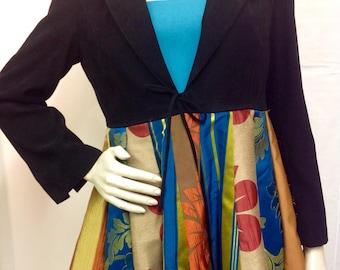 Upcycled frock coat, recycled jacket, womens size 14 special occasion jacket, peplum jacket, ethical clothing, eco chic
