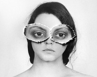 See With Your Own Eyes - FREE SHIPPING - Print Girl White Black Gray Grey Ripped Torn Paper Big Simple Odd Weird Surreal Portrait Photo Art