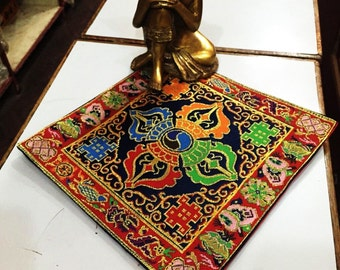 Tibetan Buddhist Blue Double Dorje silk brocade table cover / altar / shrine Cloth / placemat / Free Shipping
