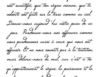 French Script - Lord's Prayer unmounted rubber stamp, Christian bible verse, religious scripture, background, Lords, Sweet Grass Stamps #22