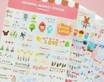 Large set with 6 sheets of stickers to the Filofaxen and more!