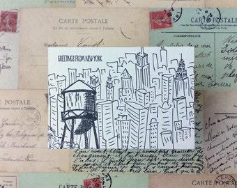 New York City - five letterpress postcards