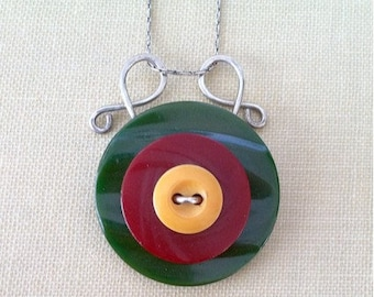 Bakelite Button Necklace, Vintage Buttons on Sterling Silver Chain, Yellow, Red, Green