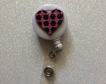 Retractable heart badge holder retractable badge holder