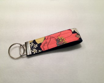 Navy Floral Fabric Key Fob