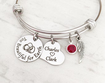 """Loss of Twins Memorial Bracelet Jewelry Gift - Personalized Mommy of an Angel Sympathy Gift """"Too Beautiful for Earth"""""""