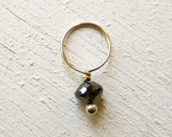 Black diamond charm on solid 14K gold