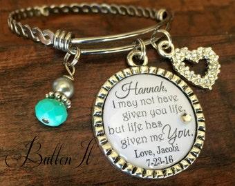 Step daughter gift, Personalized bracelet, WEDDING gift, step daughter wedding gift, PERSONALIZED wedding gift, Bangle, blended family