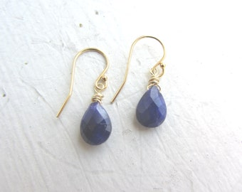 Sapphire Earrings, 14K Water Sapphire Earrings, Blue Iolite Earrings, Gemstone Earrings, 14k Gold Earrings, Virgo, September Gemstone