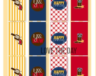 Gingham Cowboy Party PRINTABLE Mini Candy Bar Wrappers (INSTANT DOWNLOAD) by Love The Day
