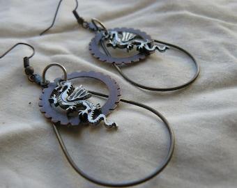 Steampunk Dragon Earrings