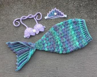 Baby Mermaid Outfit, Newborn Mermaid Outfit, Little Mermaid, Mermaid Costume, Mermaid Tail, Newborn Photo Prop, Crochet Mermaid Set