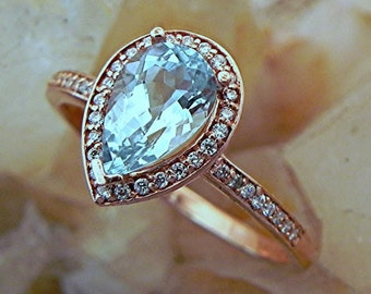 AAA Blue Green Aquamarine   1.29 Carats   Pear shape in 14K Rose gold Halo engagement ring .30cts of diamonds. B107 1573