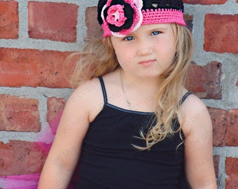 "Beanie Hat Crocheted ""The Punk Princess"" Black White Hot Pink Open Weave Style Trim Flower"