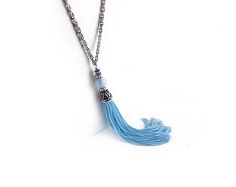Blue Tassel Necklace, Agate Beaded Bohemian Tassle Necklace, Boho Hippie Necklace, Tassel Jewelry