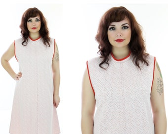 60s Mod Dress Vintage Pink Red Dots Strawberry Sixties A-Line 70s Retro 1970s Large L XLarge XL