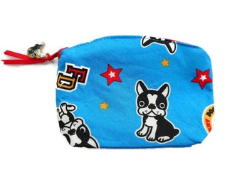 French Bulldog Coin Purse Frenchie Dog Accessory Small Dog Coin Purse Dog Zipper Bag Coin Purse Dog Lover Gift Dog Bag Cotton made in France