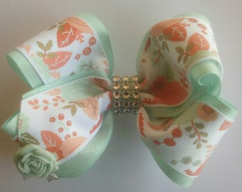 Mint Green Boutique Hairbow, Floral Hair Bow, Girls Stacked Hairbow, Easter Hair Bow