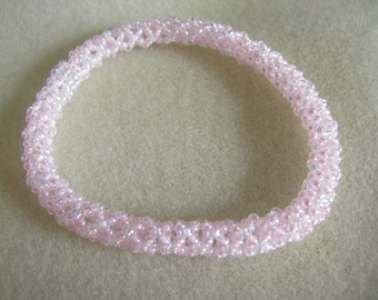 Pink and White Chenille Bangle Bracelet
