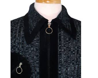 M, Men's Body-hugging Vintage 1970's Ribbed Sweater, Zippered Cardigan, Black Suede Accent Shirt, Medium