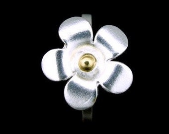 Sil-RJ-003 Handmade 1 flower sterling silver yellow gold plated stacking rings