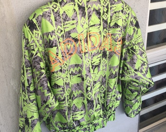 Vintage Full Print Neon Colour Spell Out Great Outfit Version By Adidas Ski