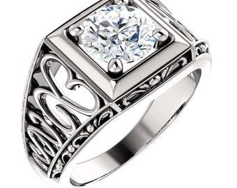 1.25  ct Forever Brilliant Moissanite Solid 14K White Gold Floral Style Vintage  Ring  ST233157