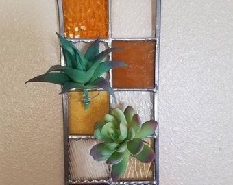Stained Glass Air Plant Holder Indoor Wall Planter Window Home Office Decor Outdoor Gardening Stain Glass Panel Square Airplant Yellow Piece