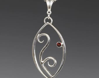 Filigree Pendant. 1 Birthstone. Sterling Silver Necklace. Lab-Created Gemstone. Marquise Shape. Scroll Design.