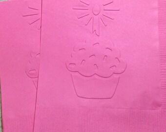 Cupcake Napkin ~ Embossed Paper Napkin ~ Birthday ~ First Birthday ~ Happy Birthday ~ Party ~ Cupcake ~ Candle ~ Beverage ~ Cocktail