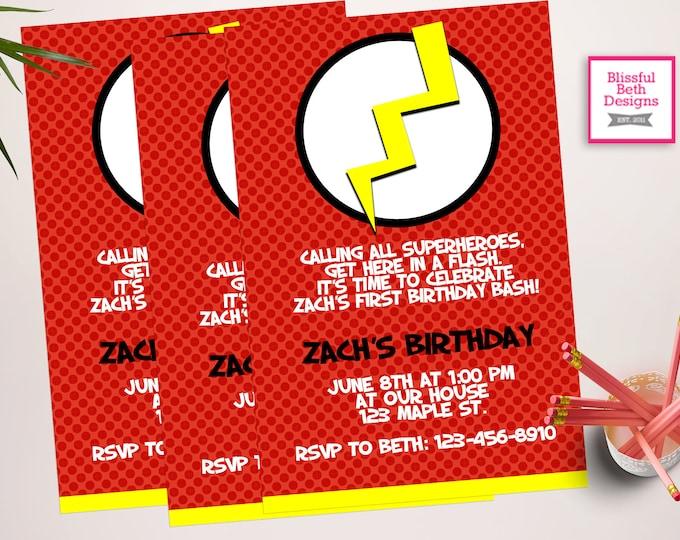 FLASH BIRTHDAY INVITATION, Personalized Flash Printable Birthday Invitation, Flash, Flash Birthday, Superhero Birthday, Flash Gordon