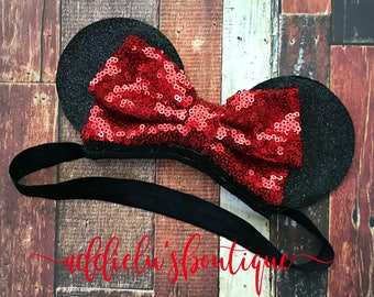 Sequin mouse ears for baby - Minnie Mouse Inspired Ears - Headband - Minnie - Disney - Disneyland - Baby - mouse ears