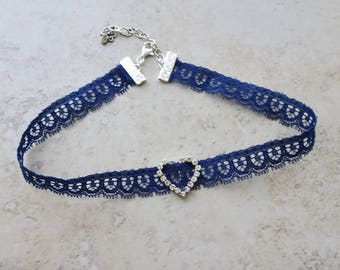 Navy Blue Lace Choker, Rhinestone Heart Blue Choker Necklace, Hipster, Silver Accents, Gift for Teen, Lace Choker Necklace, Navy Blue Choker