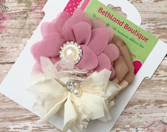 Vintage hair bow-fancy vintage flower hair clip-ivory and mauve pink bow-couture hair bow-vintage lace pink hair bow-fabric hair bow-hairbow