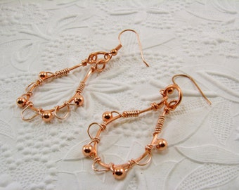 Copper Wire Wrapped Earrings Copper  Earrings Wire Wrapped Copper Earrings