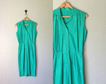 Vintage TURQUOISE Dress •1970s Clothing •Handmade Sleeveless Knee Length Teal Green Button Up Collar Shirtdress • Women Size Small Medium
