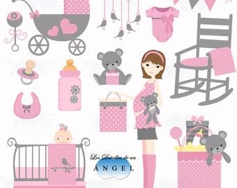 Clip art for baby girl shower / Clipart for baby shower girl