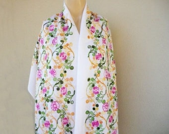 Ivory India Pashmina / Long Scarf/Silk Embroidered / Pashmina Shawl-Free Shipping