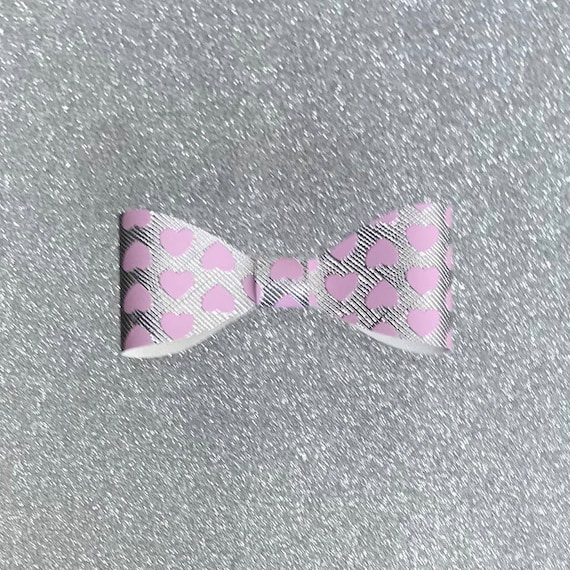 Faux Leather Bow - Silver with Pink Hearts