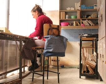 blue denim vegan convertible laptop bag / convertible vegan travel bag / canvas diaper bag travel backpack / vegan leather rucksack