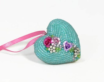 Heart Ornament Valentine's Day Gift Blue Beaded Floral Mother's Day Housewarming Hostess Gift *READY TO SHIP