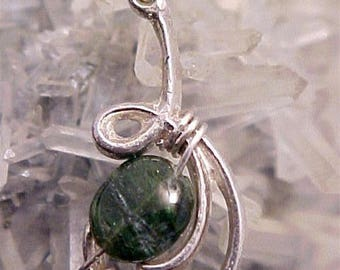 Tourmaline Sterling Silver Wire Art Pendant 005