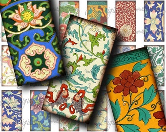 Asian Ornament (3) Digital Collage Sheet - Chinese Ornamental Art - Dominos 1x2 inch - Buy 3 Get 1 Extra Free